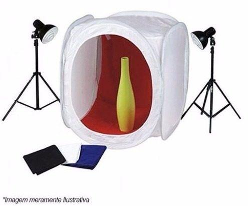 Mini Estúdio 80cm Tenda Fotografar Produtos Com Iluminaçao 80x80 - 80x80  + PKL45 220v