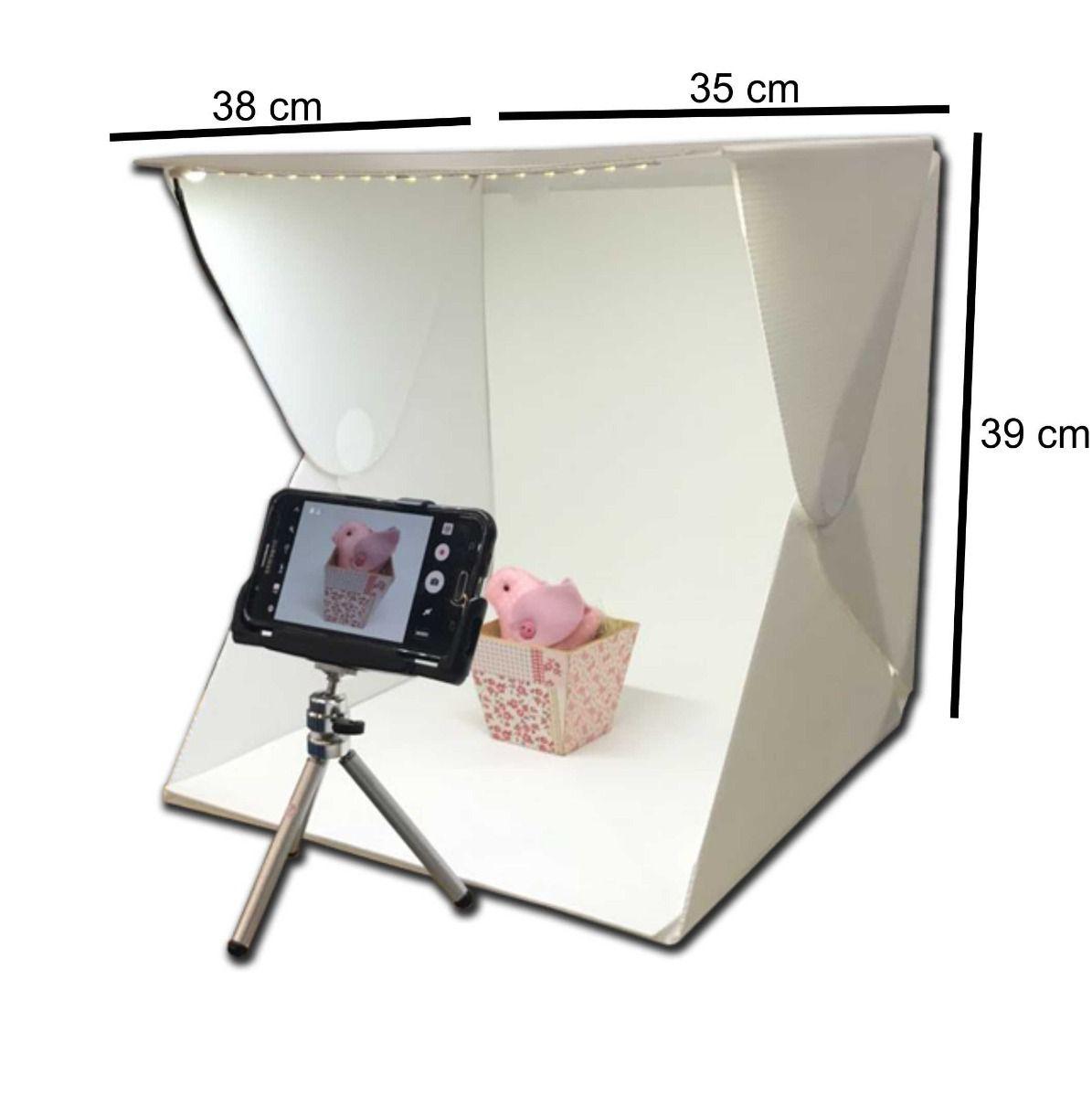 Mini Estudio de Led Para Fotografia De Produtos, Artesanatos, Ecommerce - INSTAFOLD