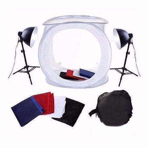 Mini Estúdio Fotográfico Tenda 40cm Com Kit de Iluminação 40x40 PKST-07 220V