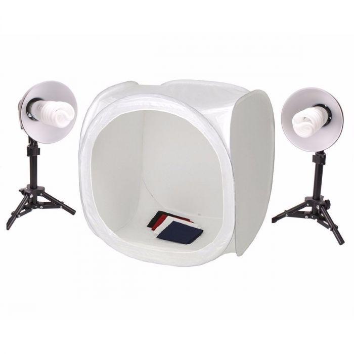 Mini Estúdio Fotográfico Tenda 40cm Com Kit de Iluminação 40x40 - PKST07 110V
