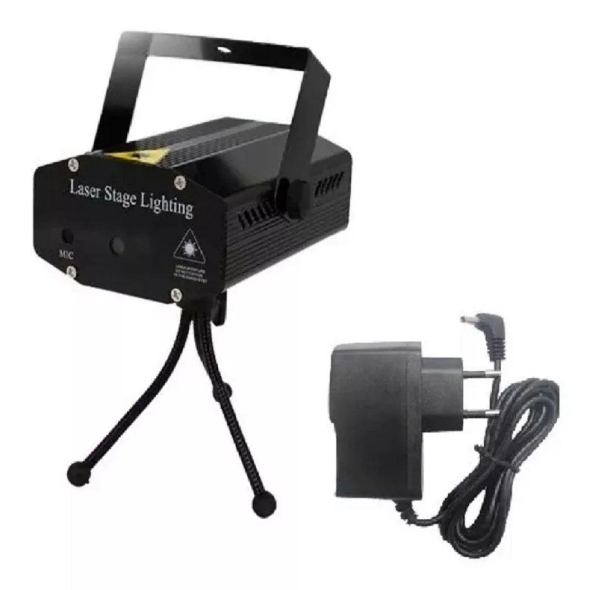 Mini Laser Projetor Holográfico Stage Lighting Preto E Azul - SD-120