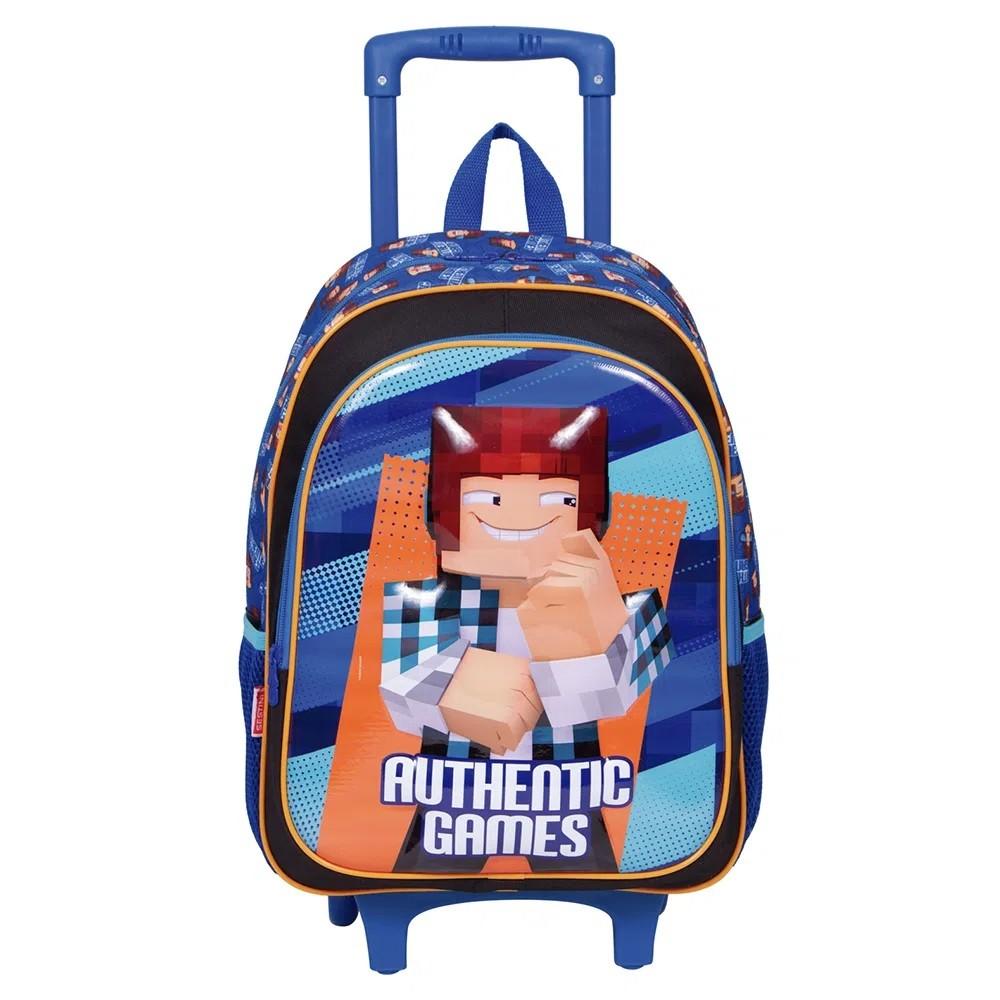 Mochila Escolar Authentic Games 21X Azul Com Rodinha - 065780-00
