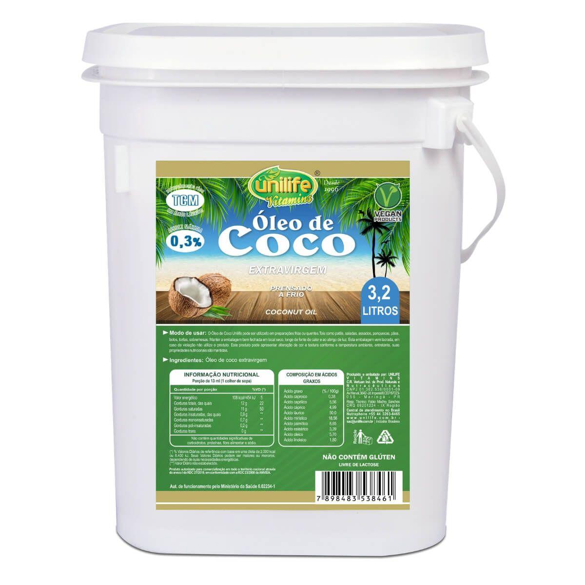 Óleo de Coco Extra Virgem Puro 3,2 LItros Unilife - 100% Natural - Natueu