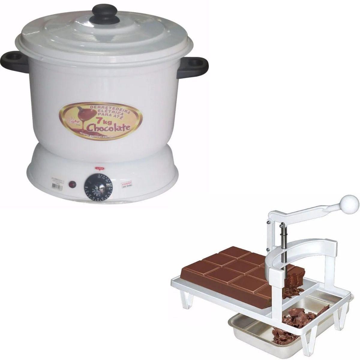Panela Derretedeira De Chocolate Elétrica Para Até 7kg Galizzi Branca 220v + Picador e Triturador de Chocolate em Barra Manual Para Derretimento