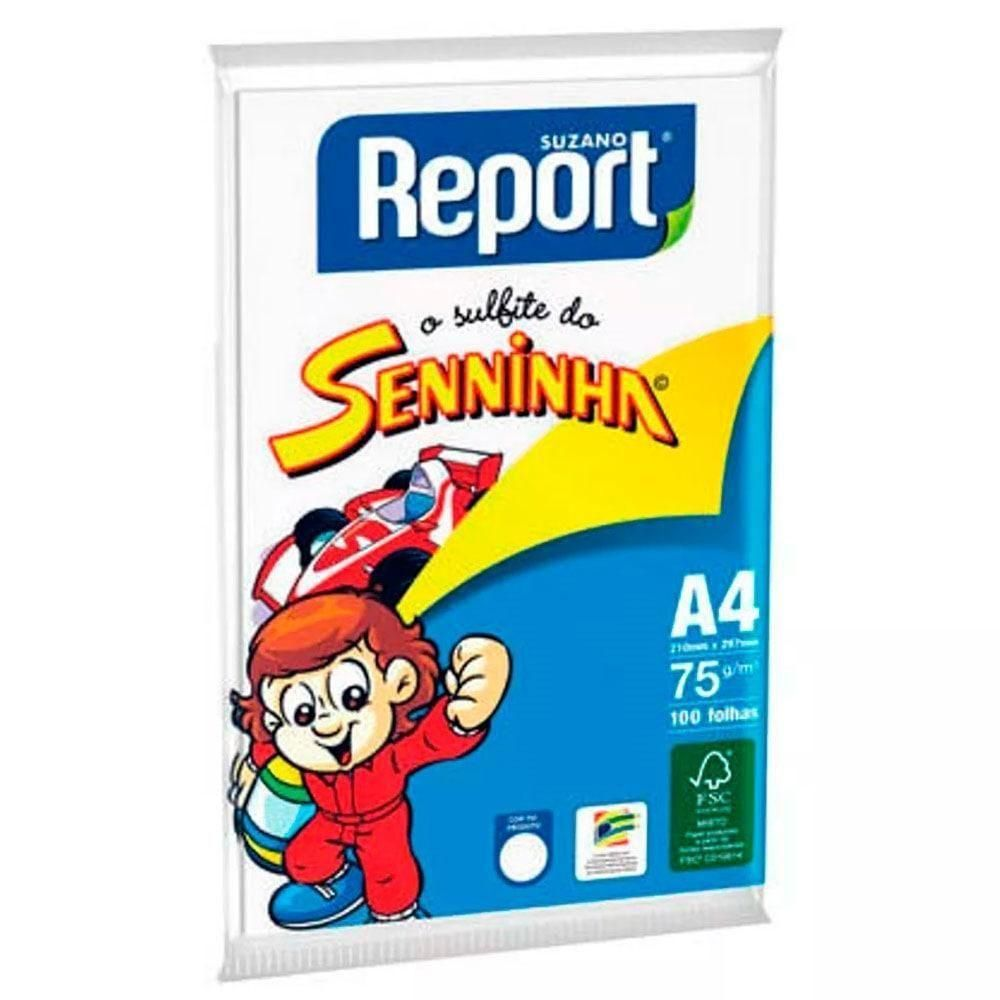 Papel Sulfite Senninha A4 100 Folhas Gramatura 75g Report - Seninha