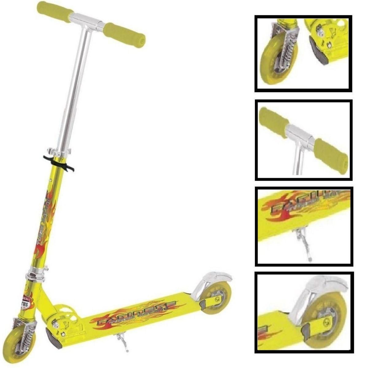 Patinete Em Aluminio Lotus Amarelo Com Amortecedor e Freio - TR-1016