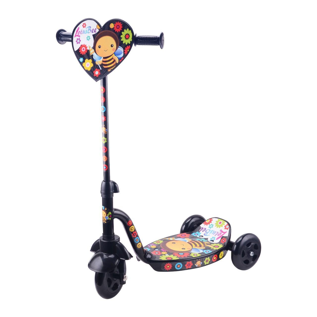 Patinete Infantil Preto Estampa Lotus Bee Personalizado Com 3 Rodas - YTT-06PR-LX
