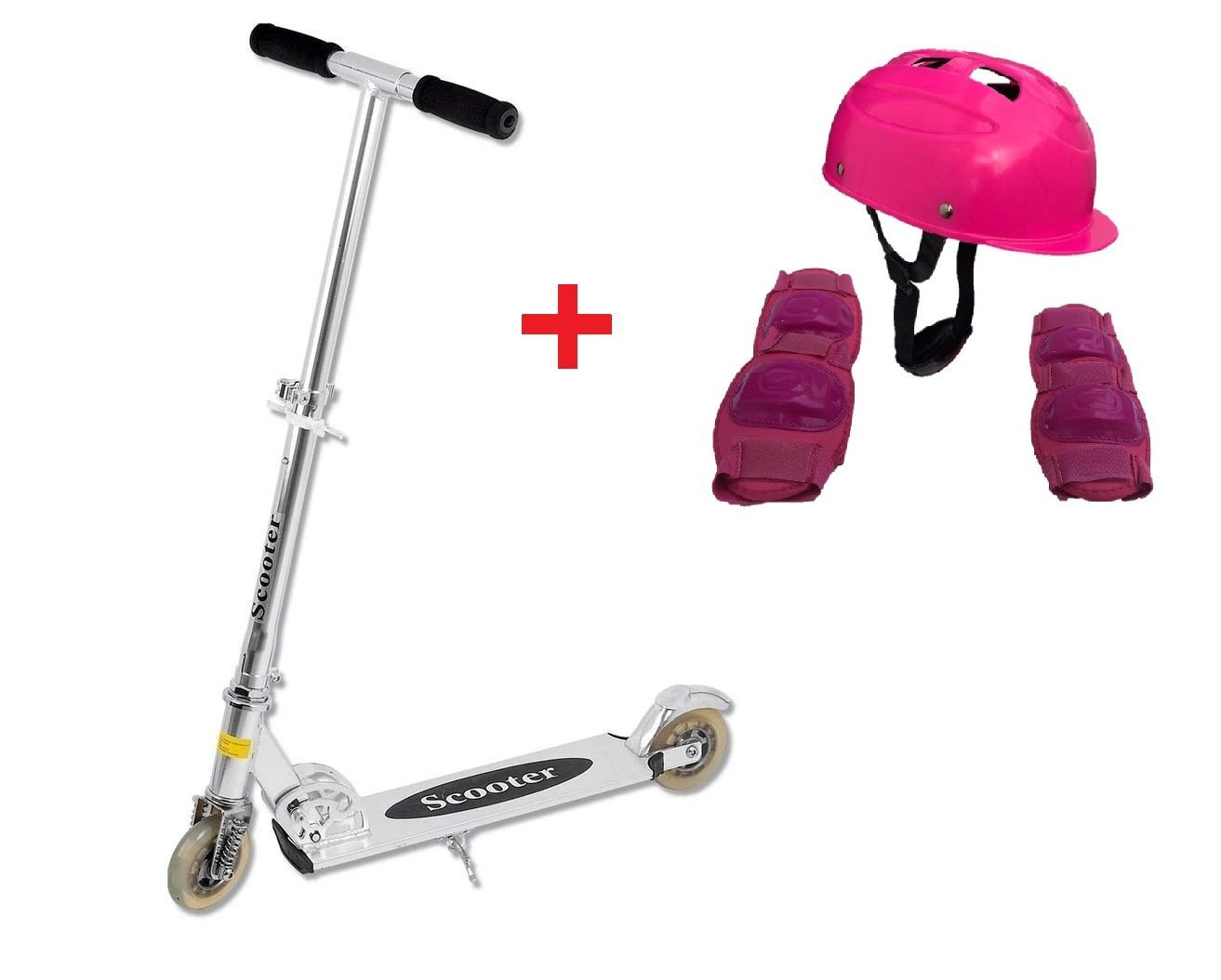 Patinete Turbo Racing + Kit Segurança Infantil PRETO - PT-566 + CP02 ROSA