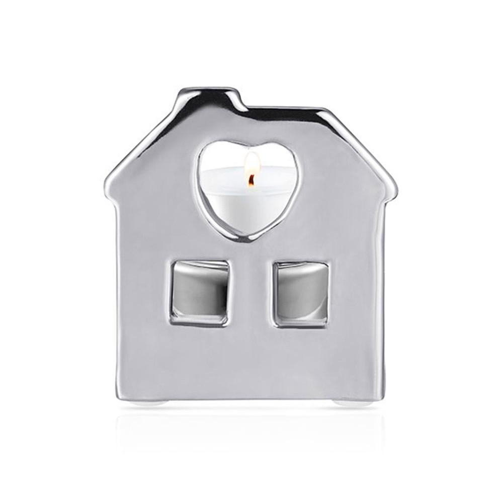 Porta Vela Casa Prata 8 X 7 X  7,5 CM Bencafil - 64074