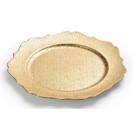 Prato Marcador Sousplat Dourado Ondas 33 CM BENCAFIL - 88163