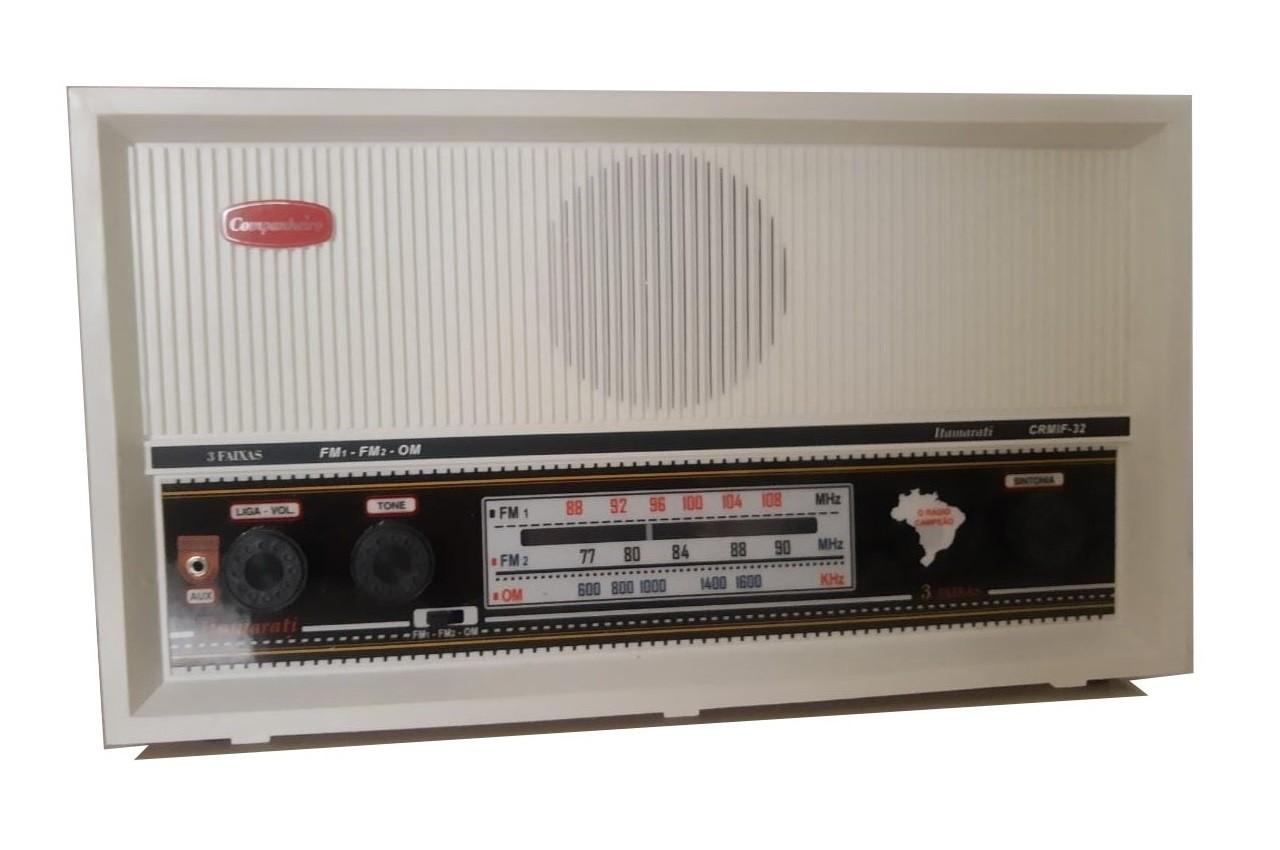 Radio Companheiro Madeira Vintage Retrô Itamarati 3 Faixas AM FM e FMW - CRMIF-31 BRANCO