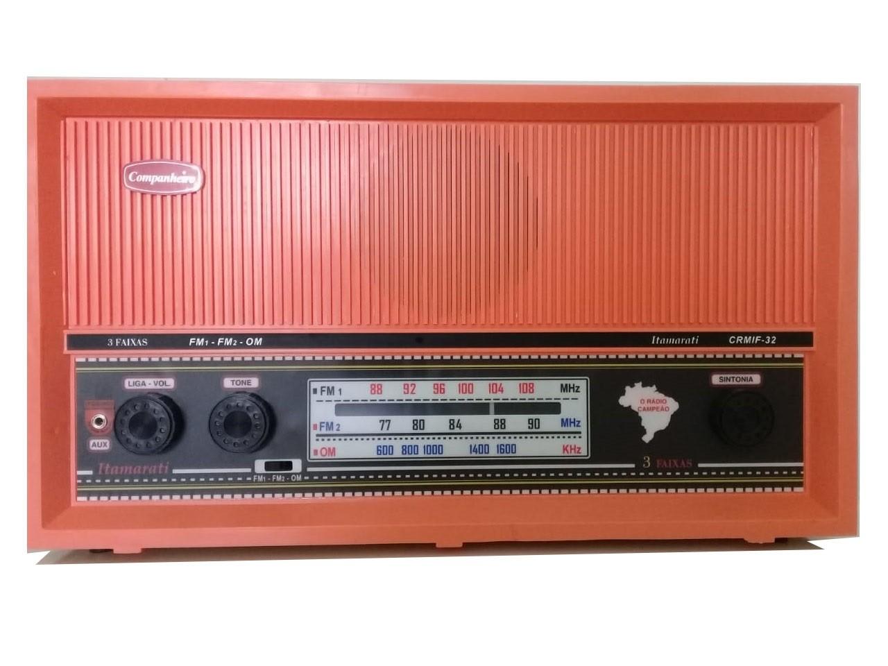 Radio Companheiro Madeira Vintage Retrô Itamarati 3 Faixas AM FM e FMW - CRMIF-31 SALMÃO