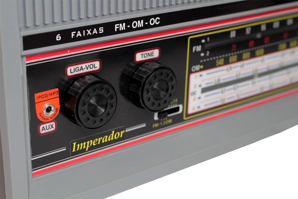 Rádio de Mesa 6 Faixas Imperador Cinza - CRMIF61C
