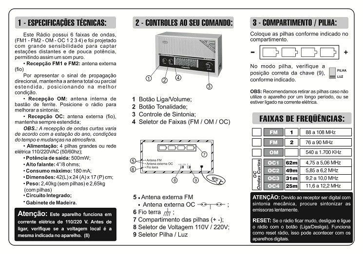 RÁDIO DE MESA IMPERADOR COMPANHEIRO BRANCO 6 FAIXAS COM ENTRADA AUXILIAR - CRMIF61B