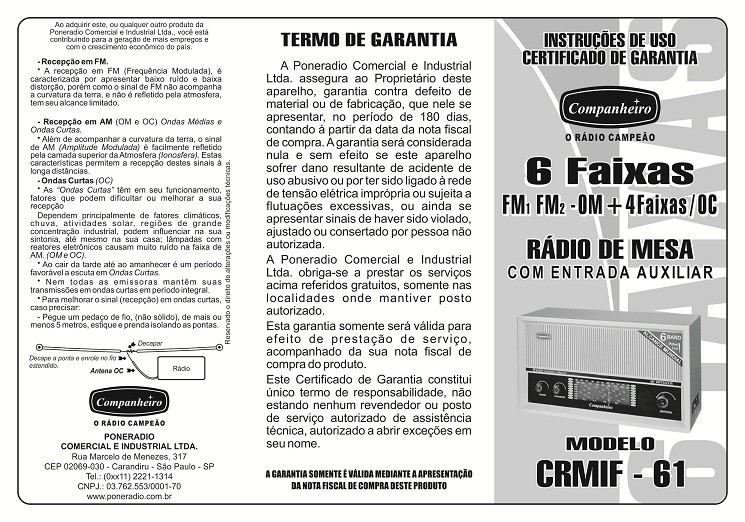 RÁDIO DE MESA IMPERADOR MARROM 6 FAIXAS COM ENTRADA AUXILIAR COMPANHEIRO - CRMIF61M