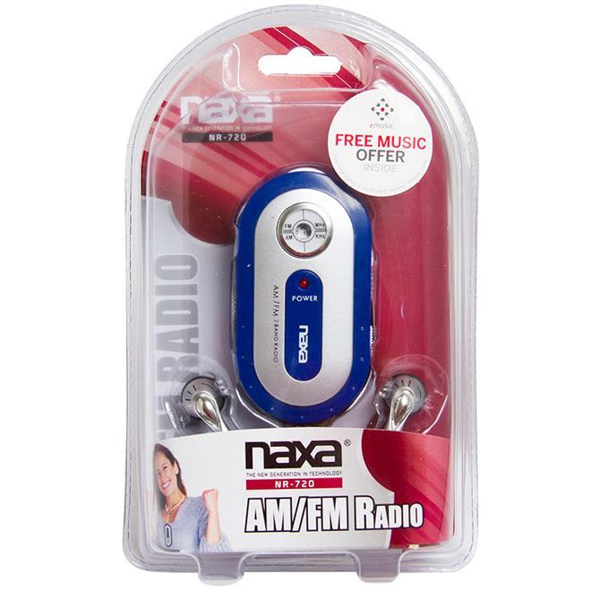 Rádio Portátil Naxa Azul Am/Fm Sintonia: Am 530-1.710 Khz E Fm 88-108 - NR720