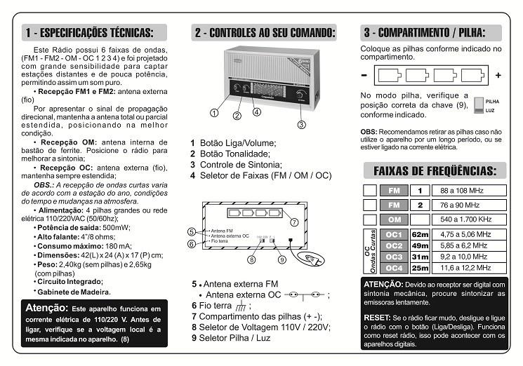 RÁDIO DE MESA IMPERADOR BRANCO 6 FAIXAS COM ENTRADA AUXILIAR - CRMIF61B
