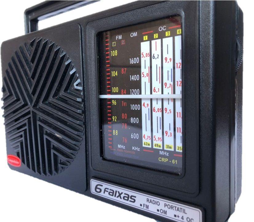 Rádio Vintage Retrô Portátil Companheiro 6 Faixas PRETO - CRP-61