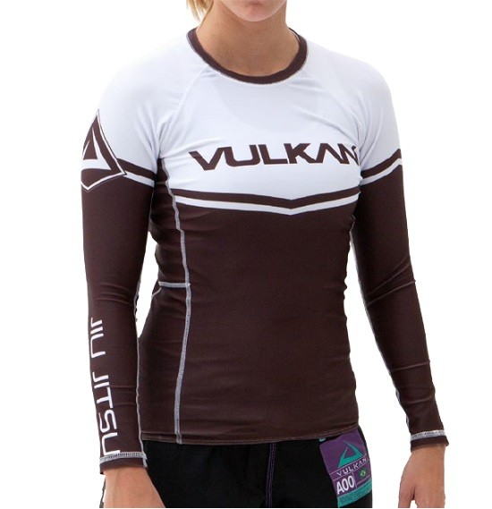 Rash Guard Vulkan Jiu Jitsu Marrom - COMPETITION MARRON MANGA LONGA