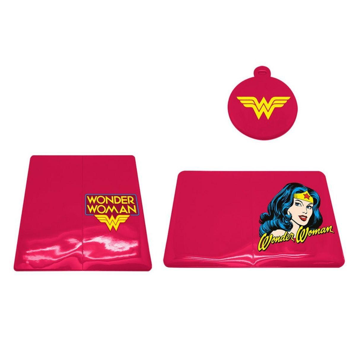 Set 3 Peças Viagem Pvc Dc Wonder Woman Pink - 68028240