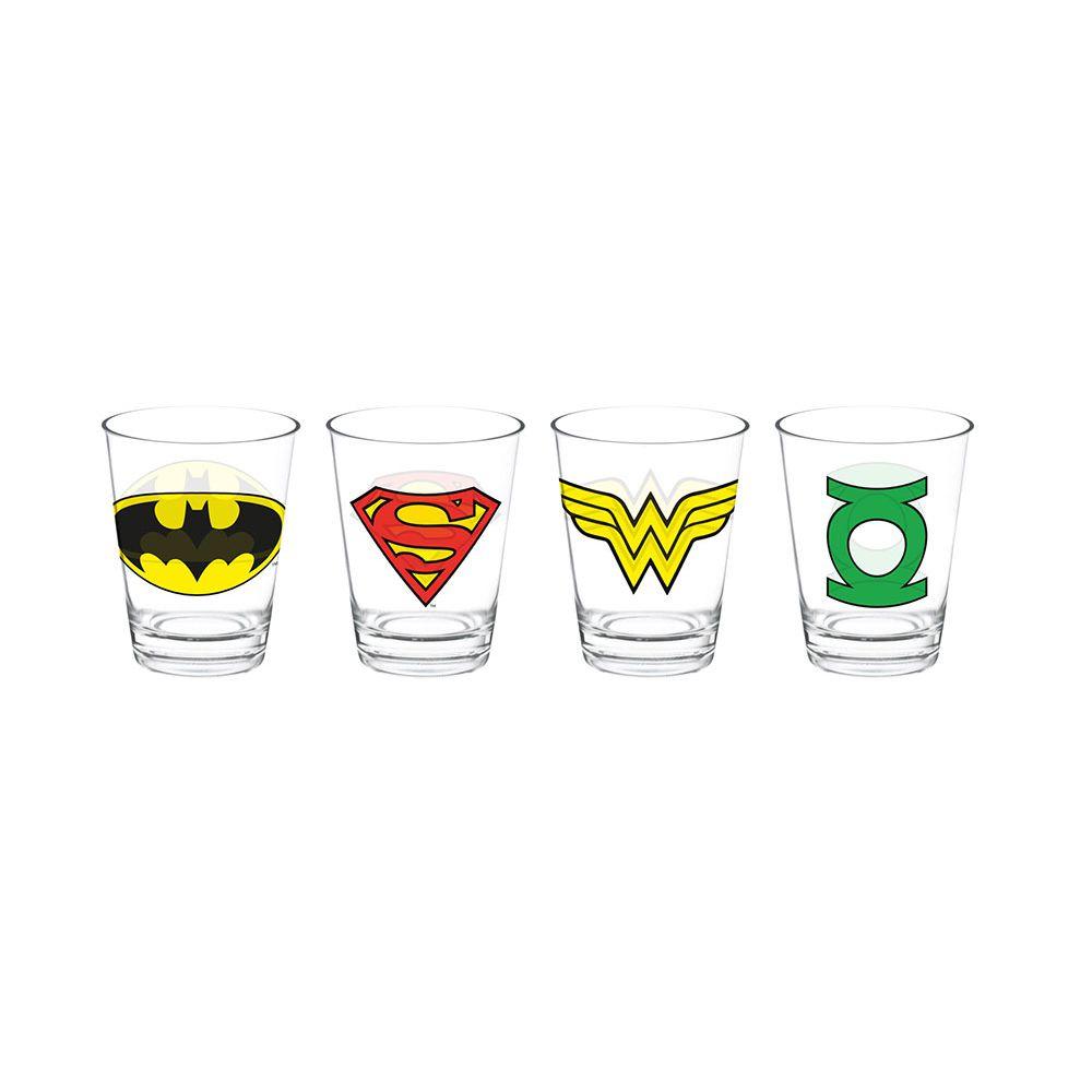 Set 4 peças Copo Vidro Caldereta Dc Logo Heroes - 75028598