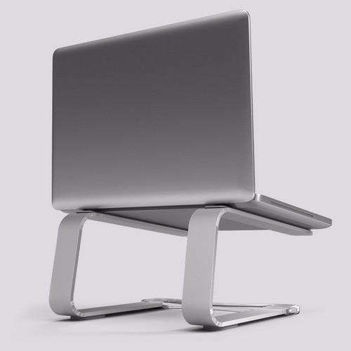 Suporte Para Macbook Pro ou Air ou Notebook Em Alumínio Curv Dj - Prata
