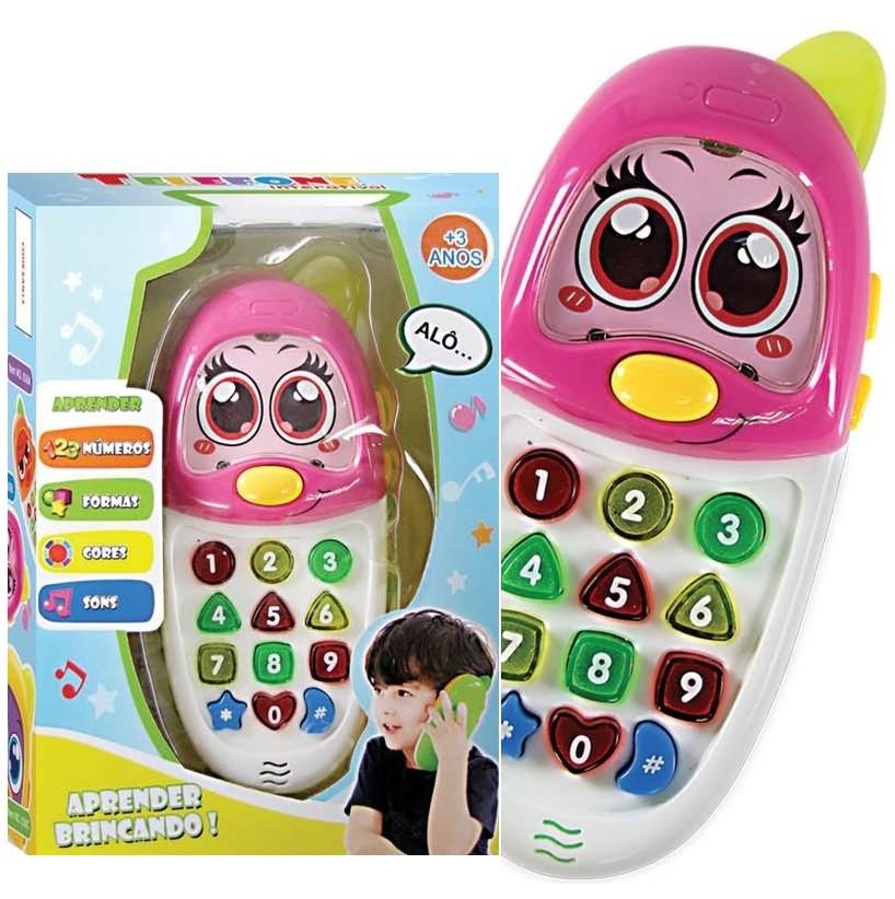 Telefone Celular Interativo Educativo Inglês e Português Brinquedo Feminino Infantil Colorido - 636 ROSA