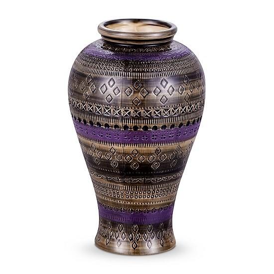 Vaso Cerâmica Roxo Trabalhado 14X24 CM BENCAFIL - 79112