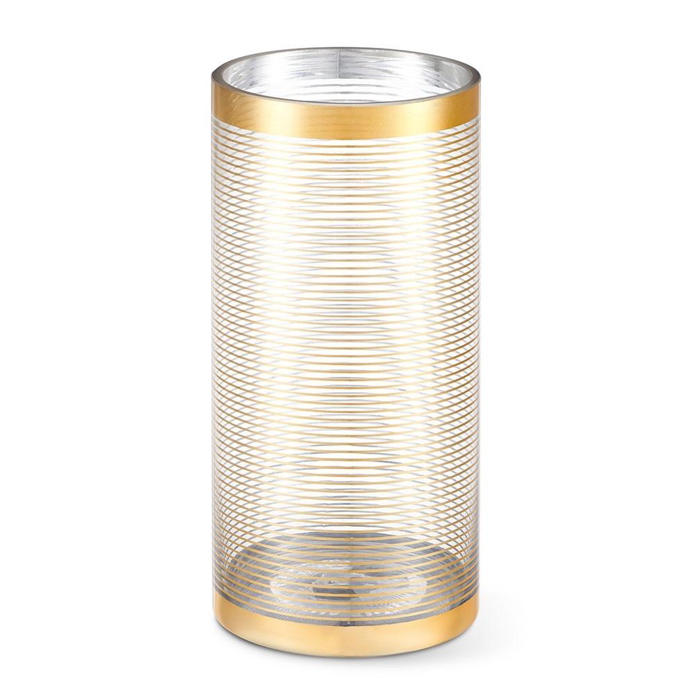 Vaso de Vidro Cilíndrico Listras Douradas BENCAFIL - 158001