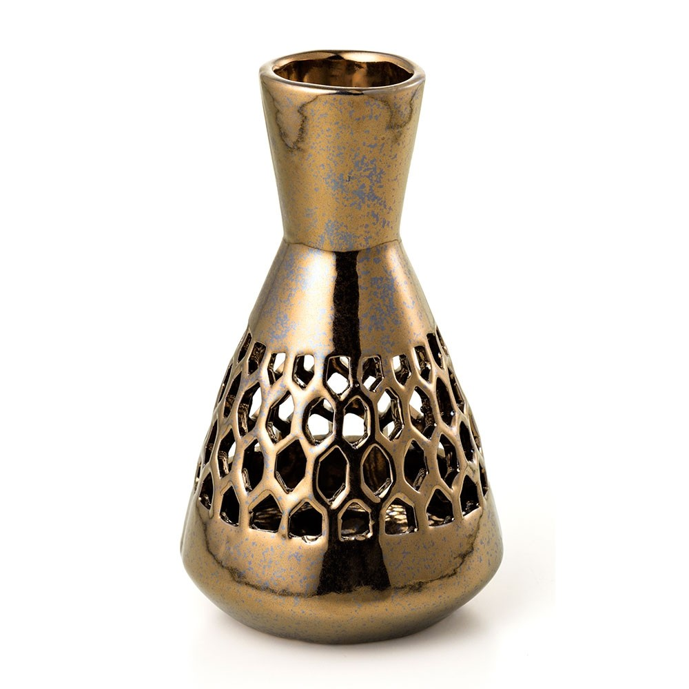 Vaso de Decoração de Cerâmica Dourado Vazado 11X18,5 cm Bencafil - 107023