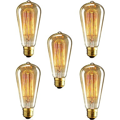 Cod.INCST64 Lâmpada Decorativa Filamento Carbono ST64 E-27 40W (pack com 5 unidades)  - lampadas.net