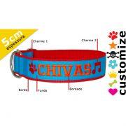 Coleira Personalizada Caes - 5cm - G / GG /  XXG - Icones - Customize!
