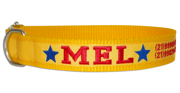 Coleira Identificação Cães - Estrelas AzulEscuro - Amarelo/Amarelo/Vermelho  - PetPatuá | Coleiras de Identificação