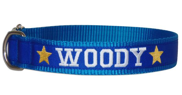 Coleira Identificação Cães - Estrelas Amarelas - Azul/AzulRoyal/Branco  - PetPatuá | Coleiras de Identificação