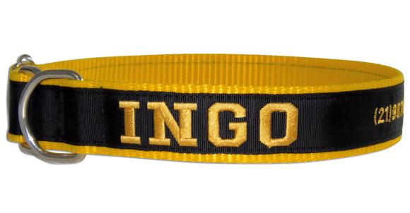 Coleira Identificação Cães Nome e Telefone - Amarelo/Preto/Amarelo  - PetPatuá | Coleiras de Identificação