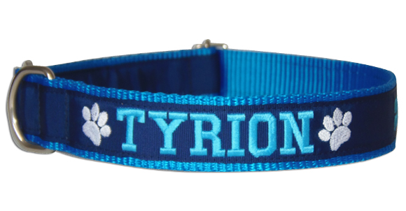 Coleira Identificação Cães - Patinhas Brancas - Azul/AzulMarinho/Azul  - PetPatuá | Coleiras de Identificação