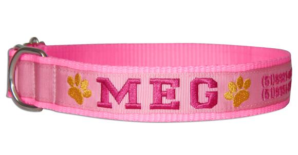 Coleira Identificação Cães - Patinhas Amarelas - RosaNeon/Rosa/Pink  - PetPatuá | Coleiras de Identificação