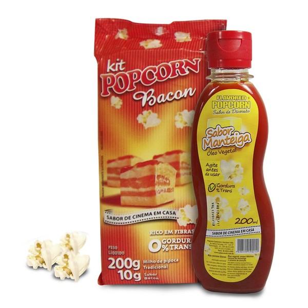 Pipoca Tradicional + Tempero Bacon + Óleo Vegetal - sabor Manteiga p/ Pipoqueira
