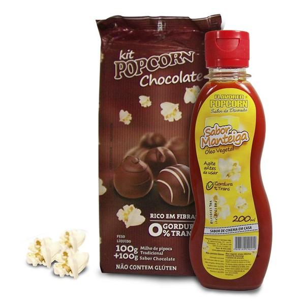 Pipoca Tradicional + Chocolate + Óleo Vegetal sabor de Manteiga