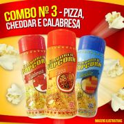 Combo nº 3 - Pizza, Cheddar e Calabresa ( Mais 100g milho de pipoca)
