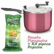 Panela Pipoqueira com Tampa de Vidro + Kit pipoca Popcorn sabor Cebola e Salsa