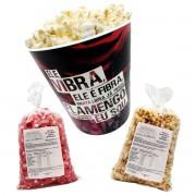 Pipoca Artesanal Popcorn - 18 Sabores Doces e 21 Sabores Salgados - Baldes de times de futebol.