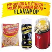Pipoqueira Elétrica POP CINE + Flavapop + Milho premium Popcorn
