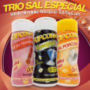Trio sal especial Popcorn. Flavapop, Sal do Himalaia, Sal Popcorn