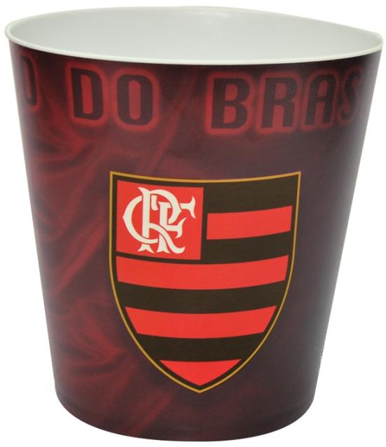 Balde p/ pipoca do Flamengo + 3 pipocas de micro-ondas