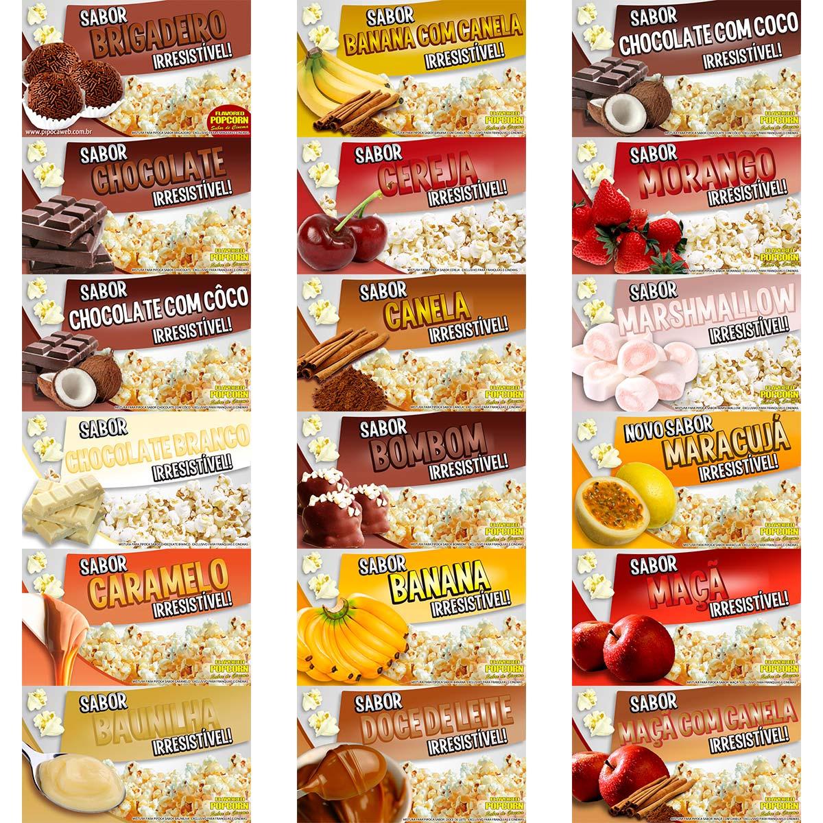Caramelos p/ Pipoca Doce - 18 sabores - Escolha - 10kg - Atacado