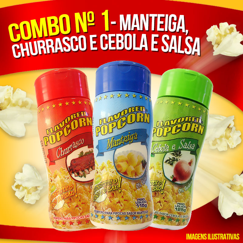 Combo nº 1 - Cebola e Salsa, Churrasco e Manteiga ( MAIS - 100g milho de pipoca)