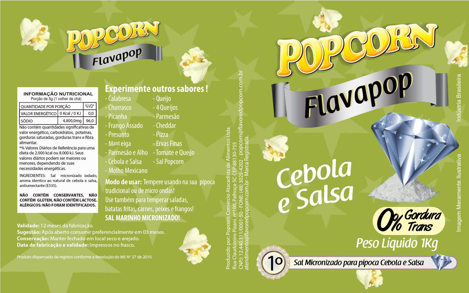 FLAVAPOP - Original de cinema -  Cebola e Salsa - Micronizado Popcorn  - Pct 1kg