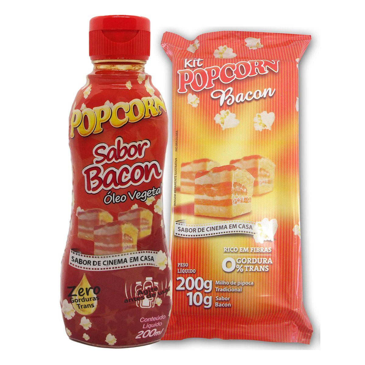 Pipoca Tradicional + Tempero Bacon + Óleo Vegetal - sabor Bacon