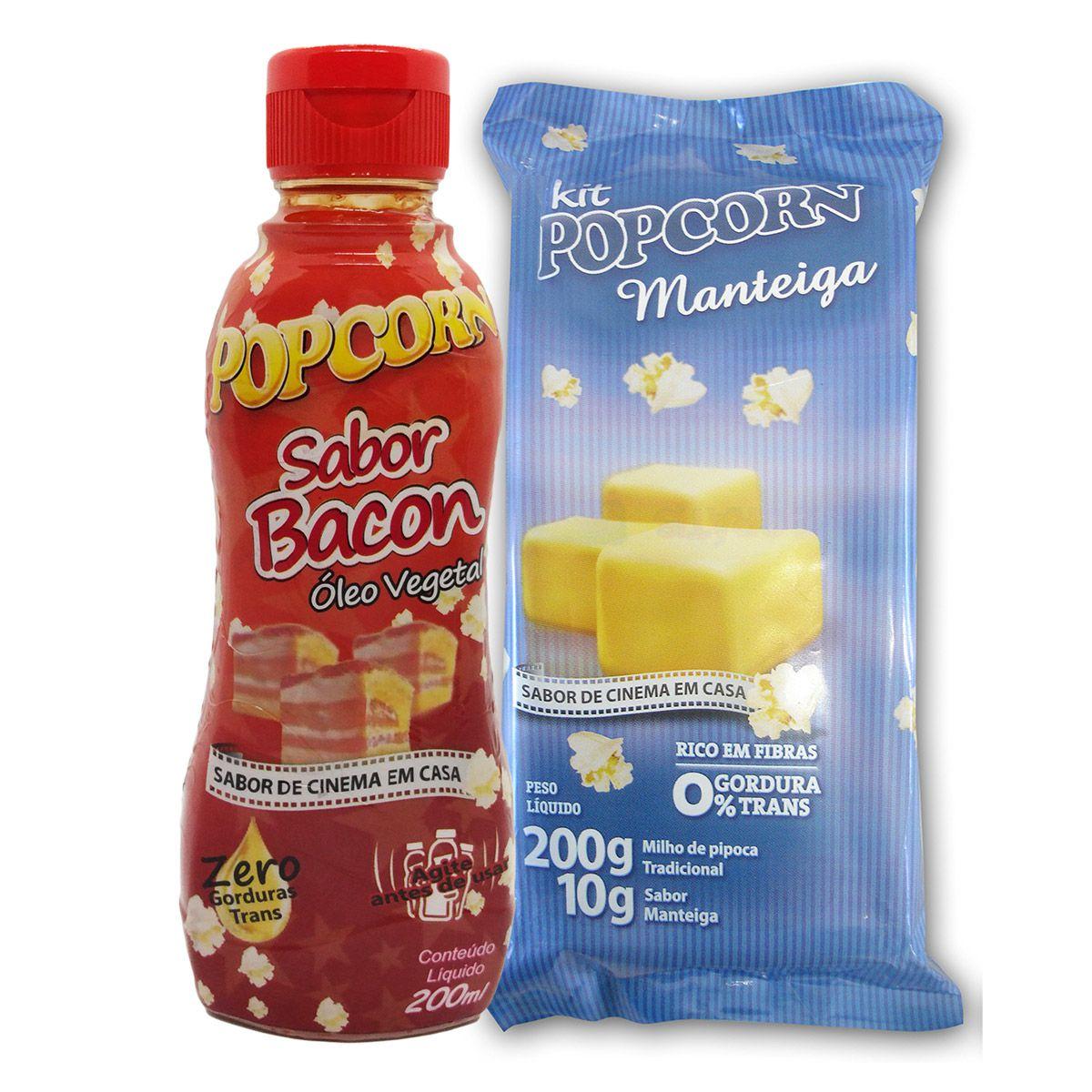 Pipoca Tradicional + Tempero Manteiga + Óleo Vegetal sabor Bacon